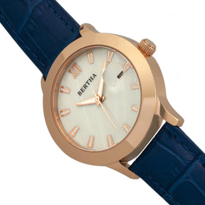 Bertha Eden Mother-Of-Pearl Leather-Band Watch w/Date - Blue/Rose Gold - BTHBR6506