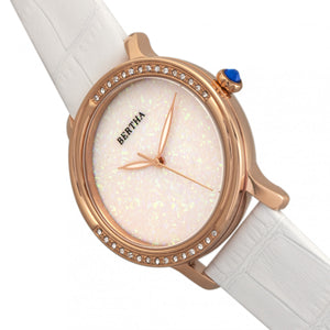 Bertha Courtney Opal Dial Leather-Band Watch - White - BTHBR7904