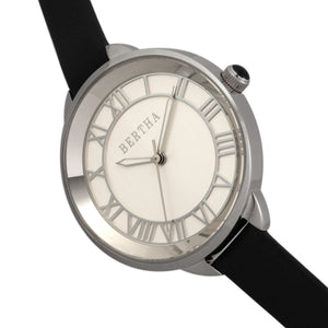 Bertha Madison Sunray Dial Leather-Band Watch - Black/Silver - BTHBR6704