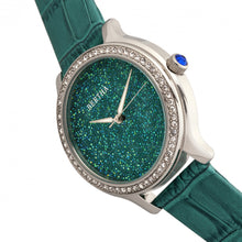 Load image into Gallery viewer, Bertha Cora Crystal-Encrusted Leather-Band Watch - Teal - BTHBR6002