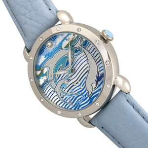 Bertha Estella MOP Leather-Band Ladies Watch - Silver/Powder Blue - BTHBR5102