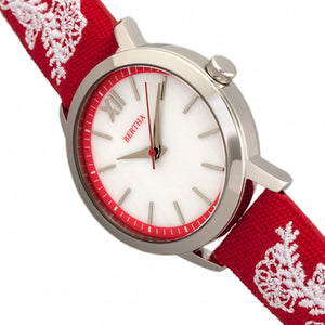 Bertha Penelope MOP Leather-Band Watch - Red  - BTHBR7301