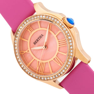 Bertha Donna Mother-of-Pearl Leather-Band Watch - Pink - BTHBR9805