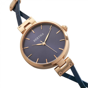 Bertha Amanda Criss-Cross Bracelet Watch - Rose Gold/Blue - BTHBR7605