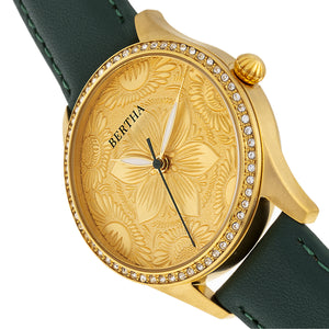 Bertha Dixie Floral Engraved Leather-Band Watch - Green - BTHBR9904