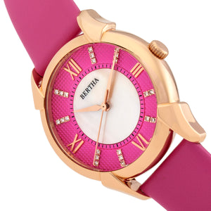 Bertha Ida Mother-of-Pearl Leather-Band Watch - Pink  - BTHBS1206