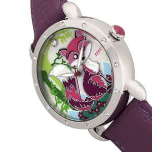 Bertha Vivica MOP Leather-Band Ladies Watch - Silver/Fuchsia - BTHBR3701