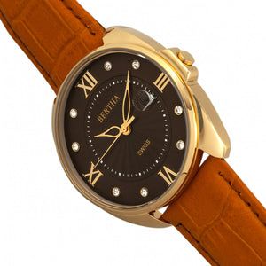 Bertha Amelia Leather-Band Watch w/Date - Orange - BTHBR6306