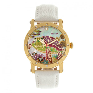 Bertha Chelsea MOP Leather-Band Ladies Watch - Gold/White - BTHBR4903