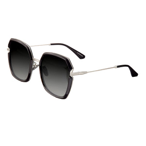 Bertha Teagan Polarized Sunglasses - Black/Silver - BRSBR033SL