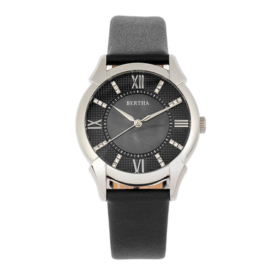 Bertha Ida Mother-of-Pearl Leather-Band Watch - Black - BTHBS1201