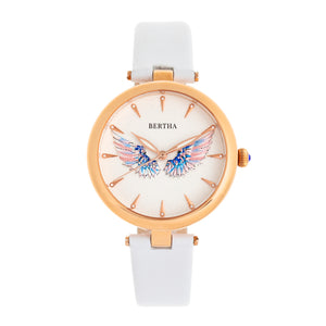 Bertha Micah Leather-Band Watch - White - BTHBR9407
