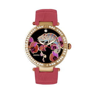 Bertha Camilla Mother-Of-Pearl Leather-Band Watch - Coral - BTHBR6205