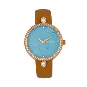 Bertha Frances Marble Dial Leather-Band Watch - Camel/Cerulean - BTHBR6405
