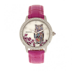 Bertha Madeline MOP Leather-Band Watch - Hot Pink - BTHBR7106