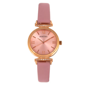 Bertha Jasmine Leather-Band Watch - Pink - BTHBR9606