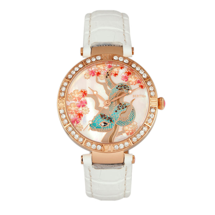 Bertha Mia Mother-Of-Pearl Leather-Band Watch - BTHBR7405