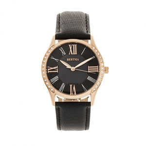 Bertha Sadie Mother-of-Pearl Leather-Band Watch - Black - BTHBR8405