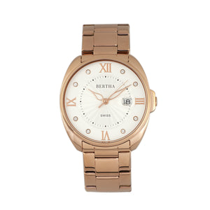 Bertha Amelia Bracelet Watch w/Date - Rose Gold - BTHBR6303