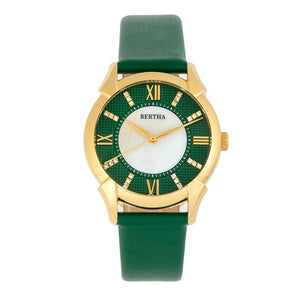 Bertha Ida Mother-of-Pearl Leather-Band Watch - Green - BTHBS1203