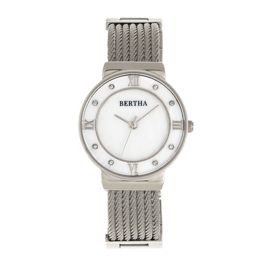 Bertha Dawn Mother-of-Pearl Cable Bracelet Watch - Silver - BTHBR9701