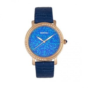Bertha Courtney Opal Dial Leather-Band Watch - Blue - BTHBR7905