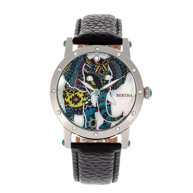 Bertha Betsy MOP Leather-Band Ladies Watch - Silver/Black - BTHBR5701