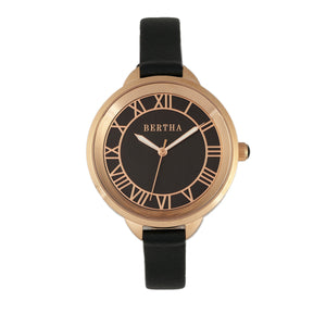 Bertha Madison Sunray Dial Leather-Band Watch - Black/Rose Gold - BTHBR6707