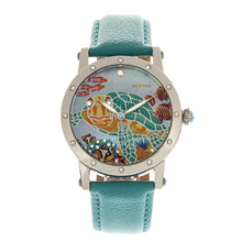 Load image into Gallery viewer, Bertha Chelsea MOP Leather-Band Ladies Watch - Silver/Turquoise - BTHBR4901