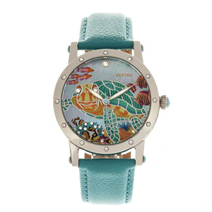 Bertha Chelsea MOP Leather-Band Ladies Watch - Silver/Turquoise - BTHBR4901