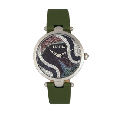 Bertha Trisha Leather-Band Watch w/Swarovski Crystals - Olive - BTHBR8001
