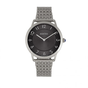 Bertha Abby Swiss Bracelet Watch - Silver/Black - BTHBR6802