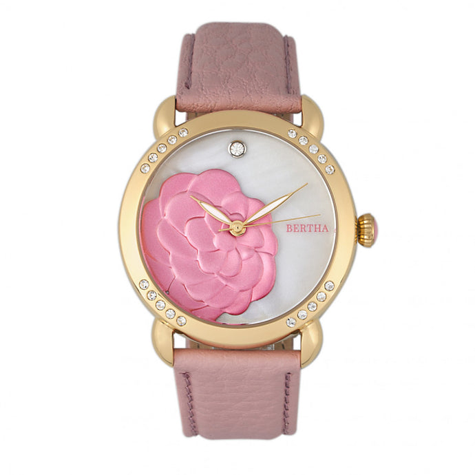 Bertha Daphne MOP Leather-Band Ladies Watch - BTHBR4605