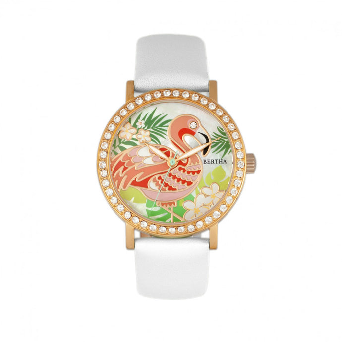 Bertha Luna Mother-Of-Pearl Leather-Band Watch - BTHBR7705