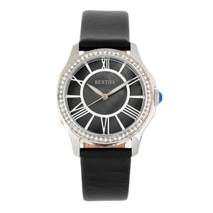 Bertha Donna Mother-Of-Pearl Leather-Band Watch - Black - BTHBR9801