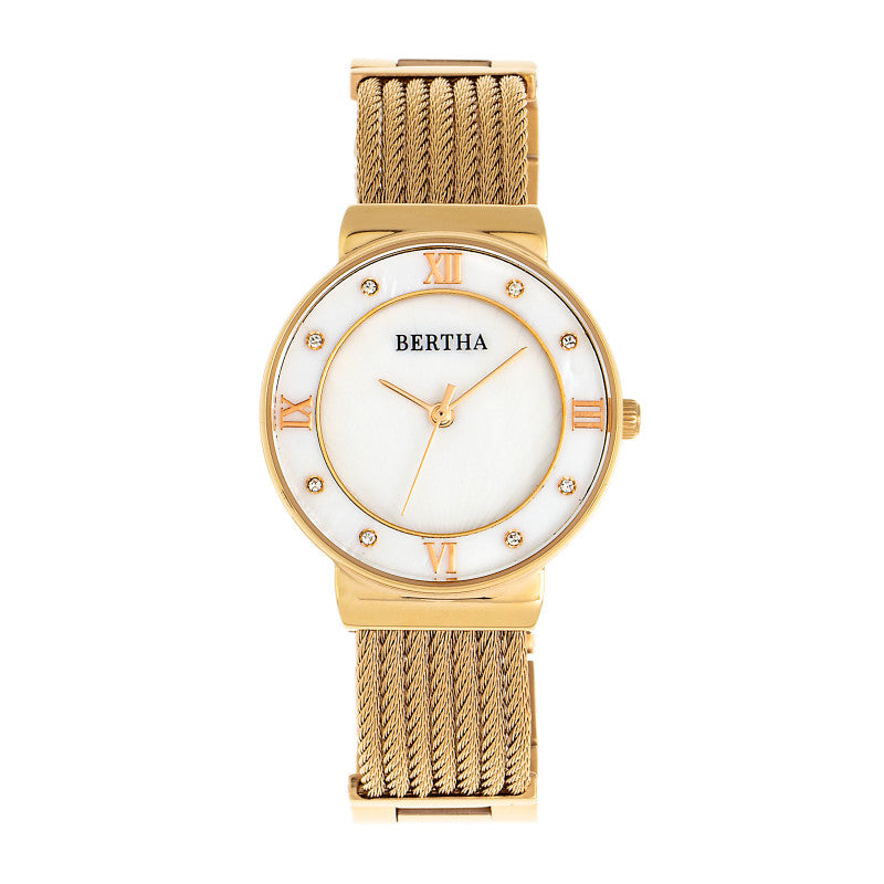 Bertha Dawn Mother-of-Pearl Cable Bracelet Watch