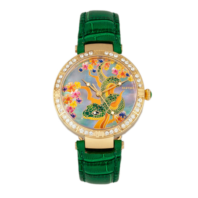 Bertha Mia Mother-Of-Pearl Leather-Band Watch - BTHBR7403
