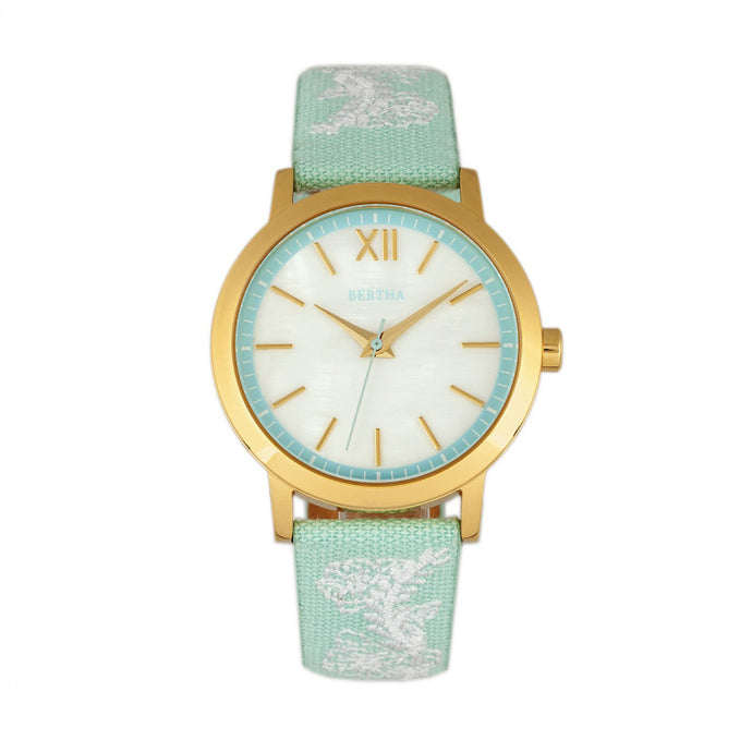 Bertha Penelope MOP Nylon-Overlaid Leather-Band Watch - BTHBR7302