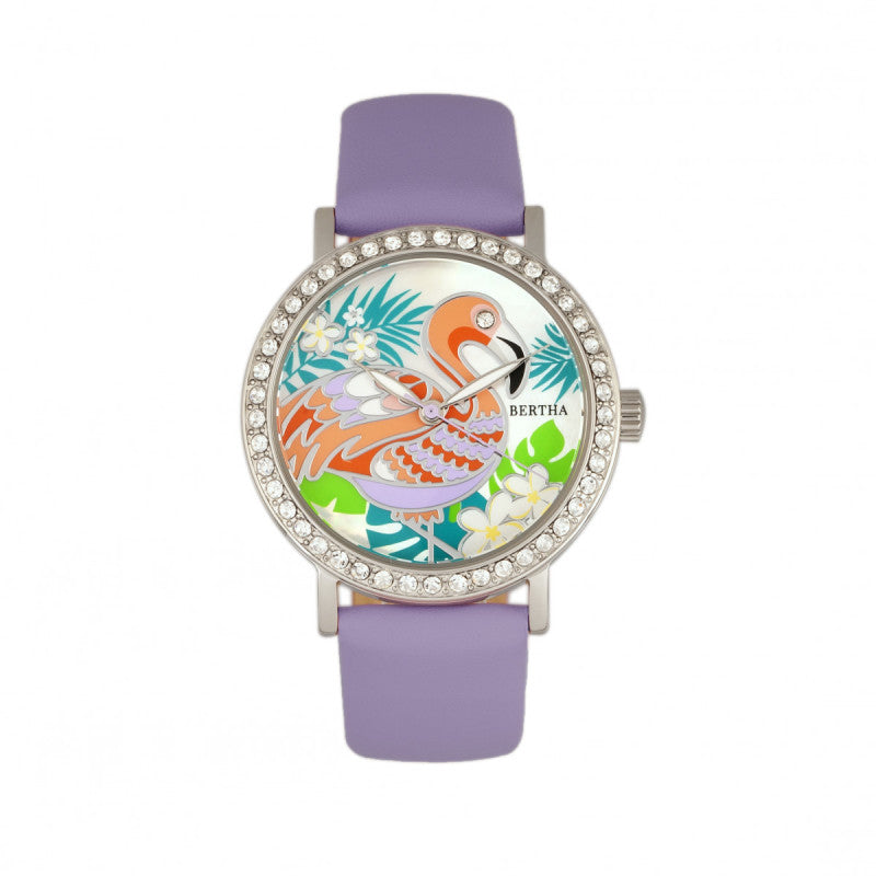 Bertha Luna Mother-Of-Pearl Leather-Band Watch