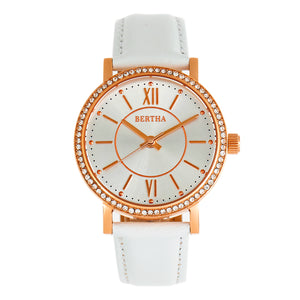 Bertha Lydia Leather-Band Watch -White - BTHBR9504