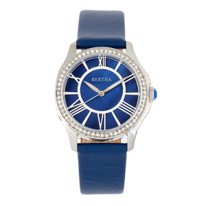 Bertha Donna Mother-of-Pearl Leather-Band Watch - Blue - BTHBR9802