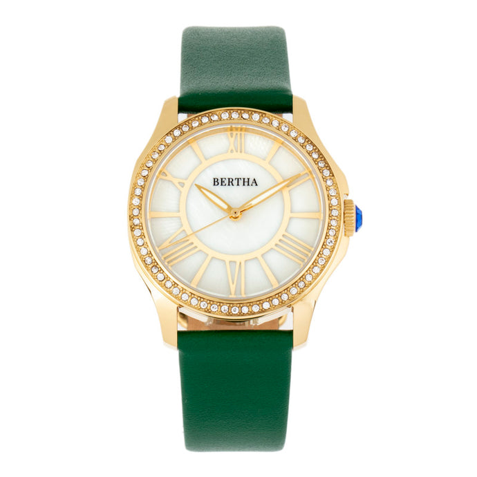 Bertha Donna Mother-of-Pearl Leather-Band Watch - BTHBR9803