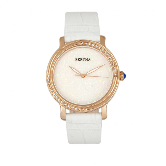 Bertha Courtney Opal Dial Leather-Band Watch - BTHBR7904