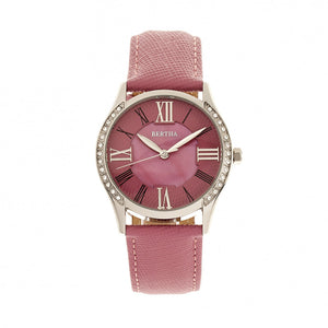 Bertha Sadie Mother-of-Pearl Leather-Band Watch