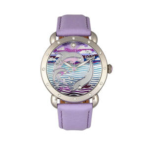 Bertha Estella MOP Leather-Band Ladies Watch - Silver/Lavender - BTHBR5103