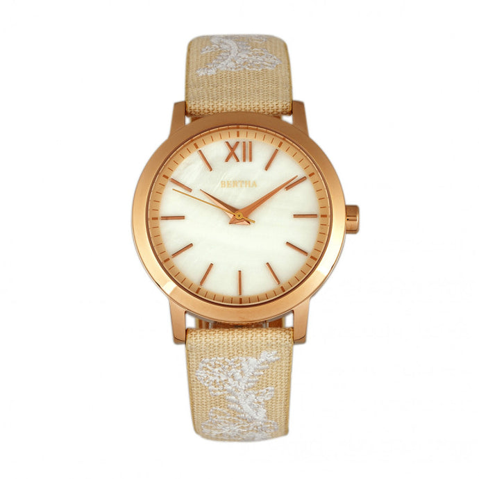 Bertha Penelope MOP Nylon-Overlaid Leather-Band Watch - BTHBR7304