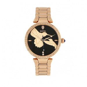 Bertha Nora Bracelet Watch - Black/Rose Gold  - BTHBR8503