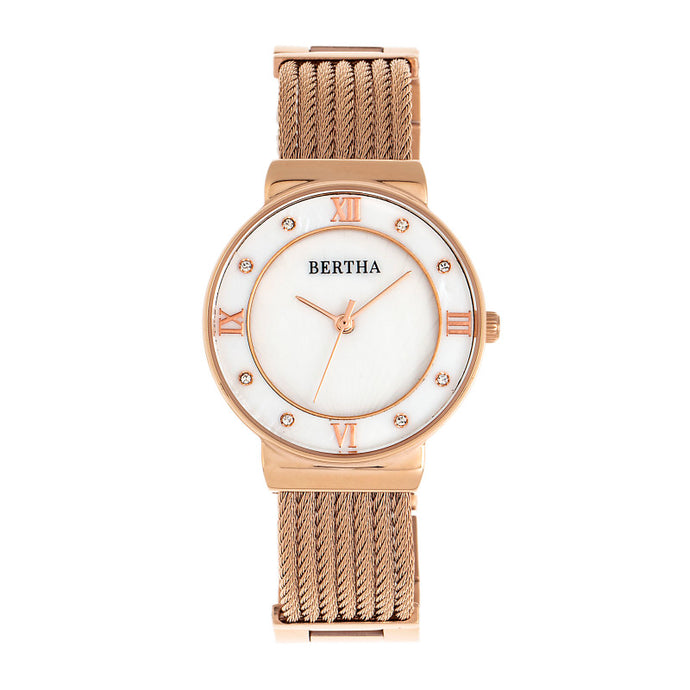Bertha Dawn Mother-of-Pearl Cable Bracelet Watch - BTHBR9705