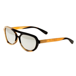 Bertha Brittany Buffalo-Horn Polarized Sunglasses - Black-Tan/Silver - BRSBR005M