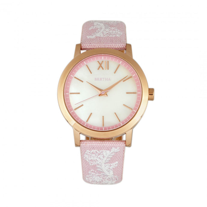 Bertha Penelope MOP Nylon-Overlaid Leather-Band Watch - BTHBR7305